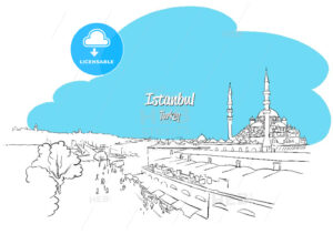Istanbul Skyline Panorama sketched Greeting Card - Hebstreits
