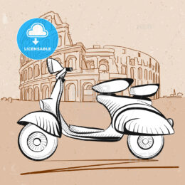 Italian Scooter in Front of Colosseum in Rome