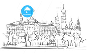 Kremlin, Moscow, Panoramic Greeting Card Sketch - Hebstreits
