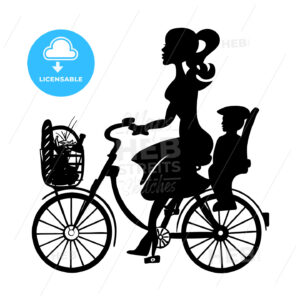 Lady with Baby Child on Bicycle - Hebstreits