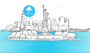 Liberty Statue with New York City Skyline Sketch - Hebstreits