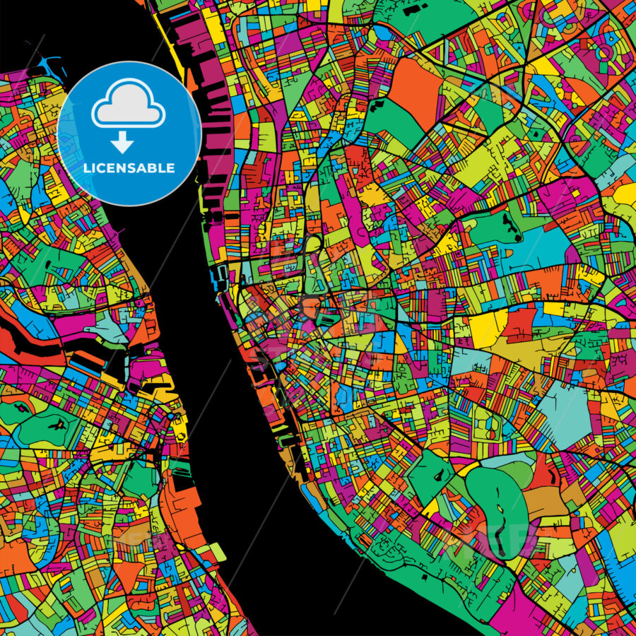 Liverpool Colorful Vector Map on Black - HEBSTREIT's Sketches