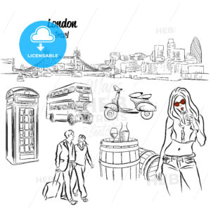 London Panorama and Travel Icons Sketches, - Hebstreits