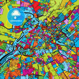 Manchaster, England, Colorful Vector Map on Black - HEBSTREIT's Sketches