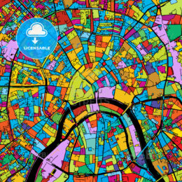 Moscow, Capital of Russia, Colorful Vector Map on Black
