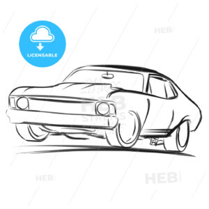 Old Muscle Car Outline Sketch - Hebstreits