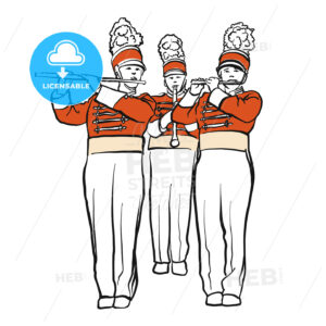 Red Colored Military Band Illustration - Hebstreits