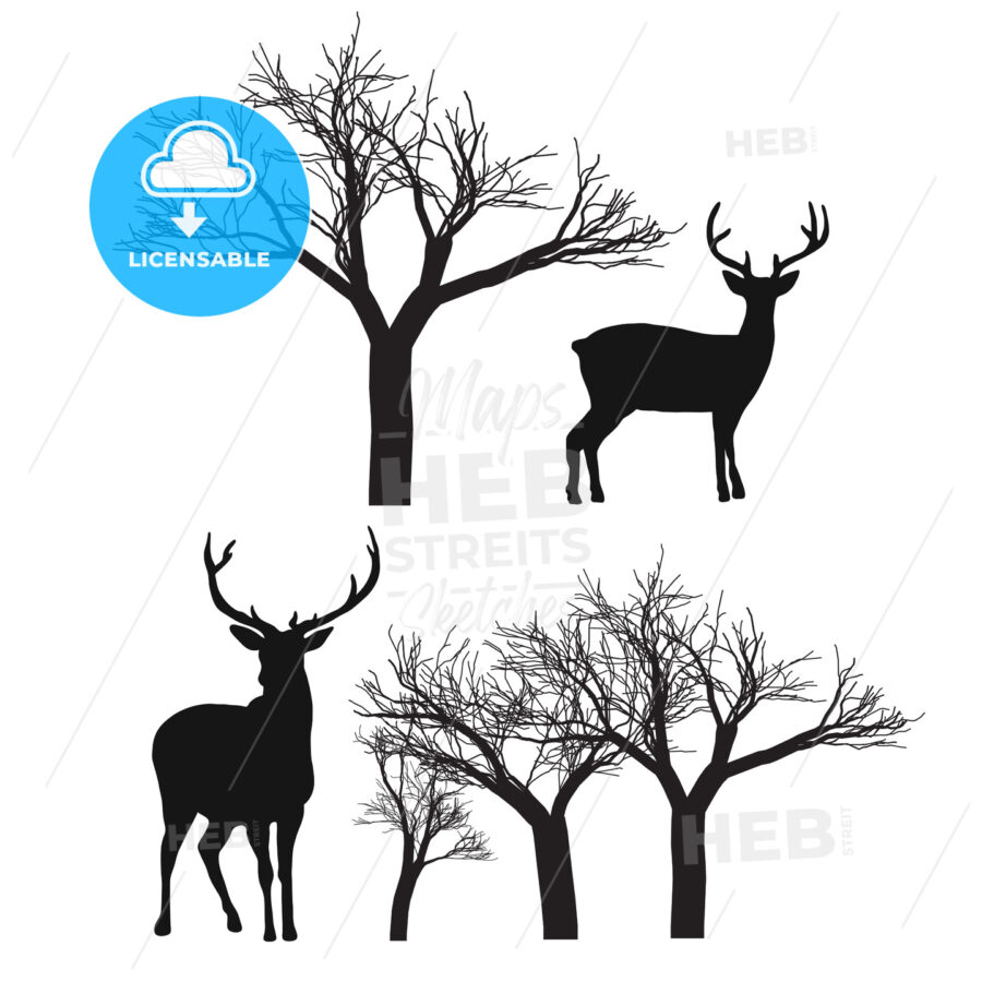 Reindeer and Trees isolated - Hebstreits