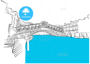 Rialto Bridge Venice and Blue Water Sketch - Hebstreits