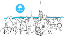Riga Ancient Panorama Greeting Card Sketch