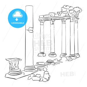 Side Temple Apollo Turkey Sketched - Hebstreits