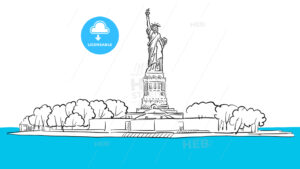 Statue of Liberty Island Areal Sketch - Hebstreits