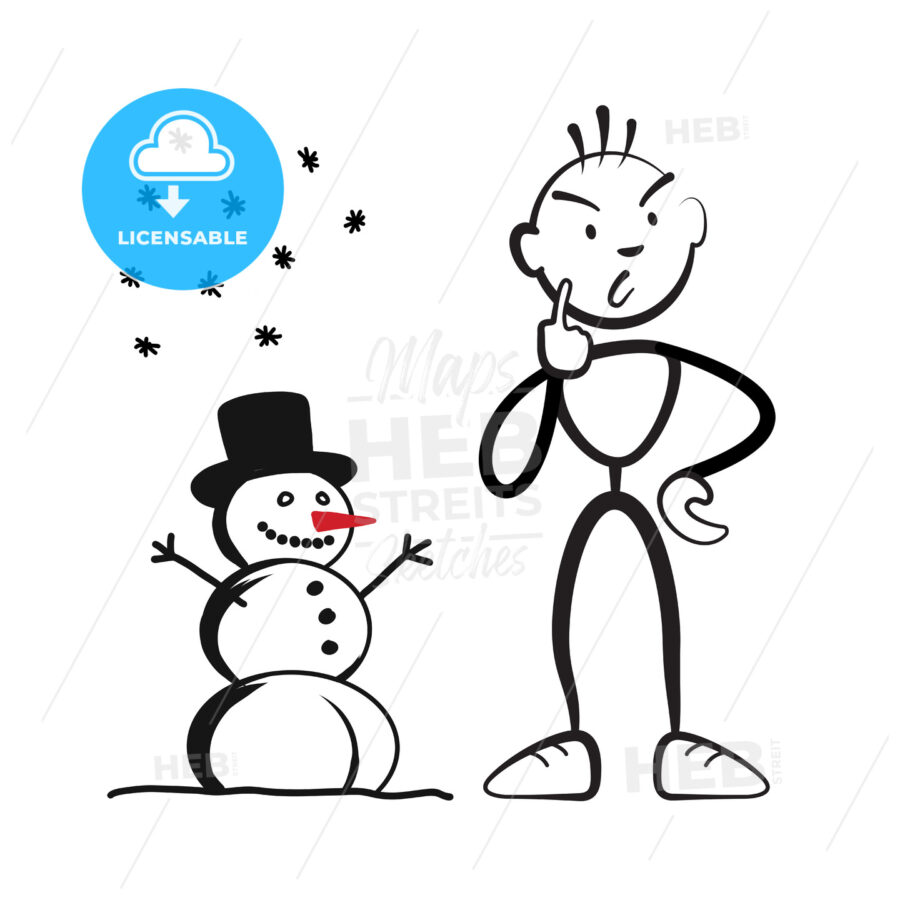 Stick figure man with snowman questioning - Hebstreits