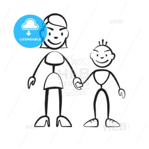 Stick figure mother with son - Hebstreits
