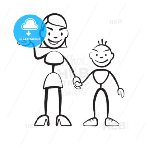 Stick figure mother with son greeting - Hebstreits