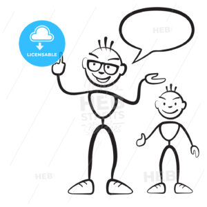 Stick figure persona man with child and speech bubble - Hebstreits