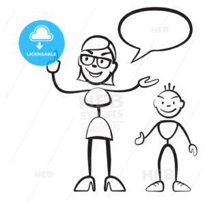 Stick figure persona woman with child and speech bubble - Hebstreits