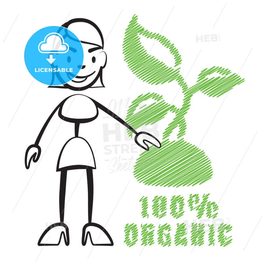 Stick figure woman with symbol 100% Organic - Hebstreits