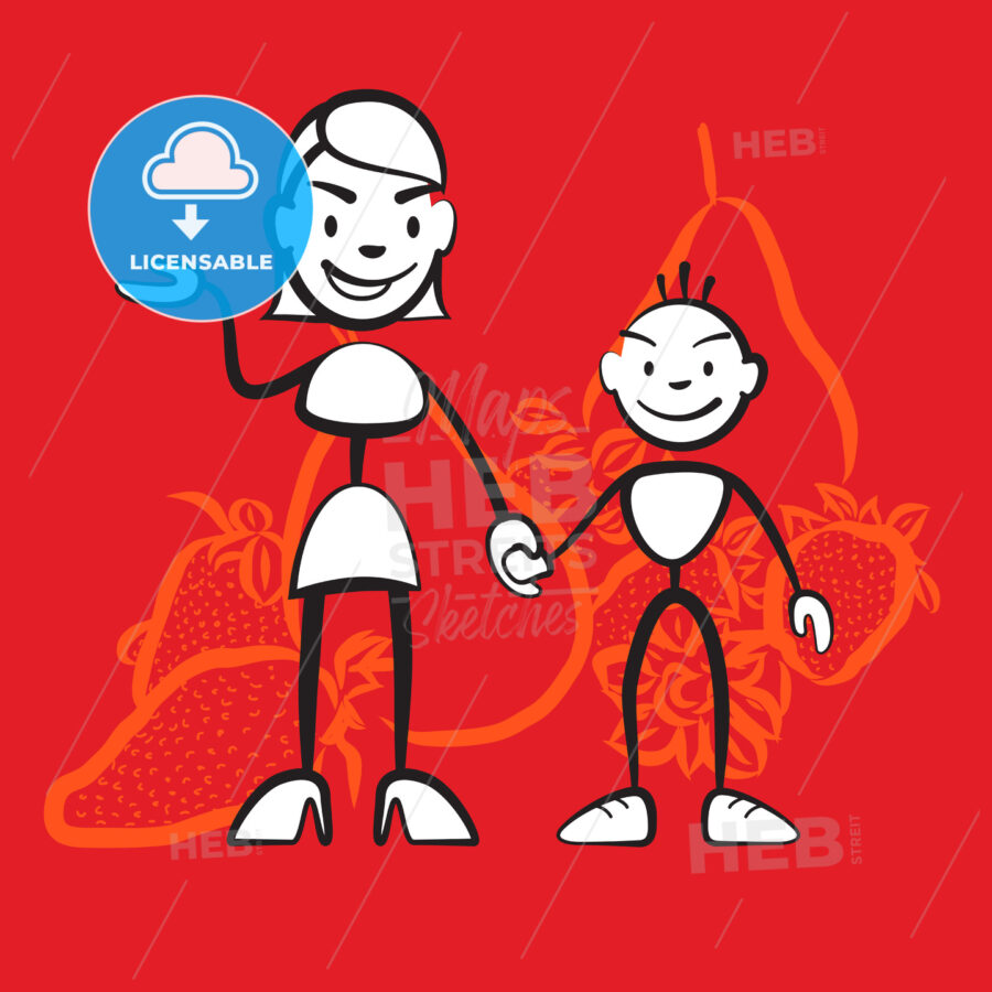 Stickman mother and child symbol Health conscious diet - Hebstreits