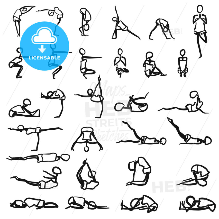Stickmen hand drawn Yoga Poses - Hebstreits