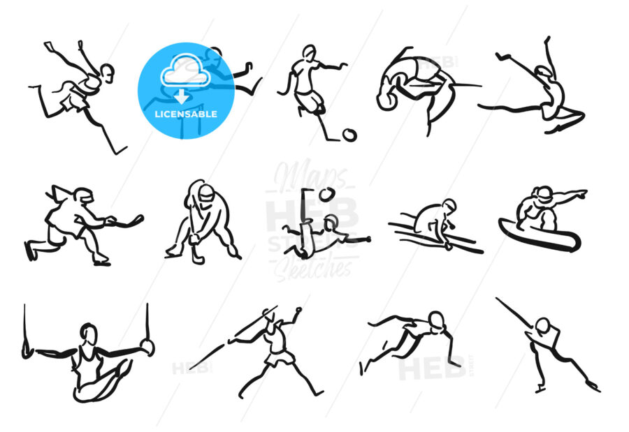 Sticky Men Sketched Athletics Sportsmen Collection - Hebstreits