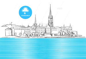 Stockholm Panorama with blue Water  Sketch - Hebstreits