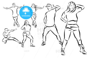 Three Poses Duett, Hip Hop Choreography Coloring Page - Hebstreits