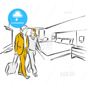 Travel couple in hotel Room Accommodation - Hebstreits