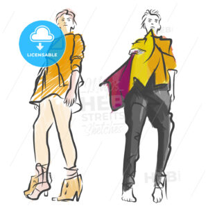 Two Fashion Models Colored Sketch - Hebstreits