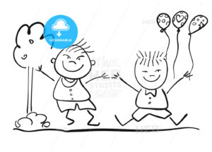 Two Happy Kids with Ballon, Friendship Symbol Sketch - Hebstreits