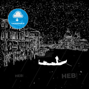 Venezia by Night Grand Canal Sketch - Hebstreits