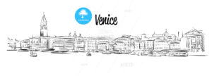 Venice Skyline, Italy, Hand drawn Vector Sketch - Hebstreits