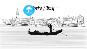 Venice skyline with Gondola, Hand drawn Vector Sketch - Hebstreits