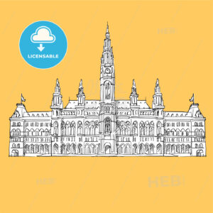 Vienna City Hall Vector Sketch - Hebstreits