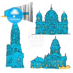 Berlin Germany Colored Landmarks - Hebstreits