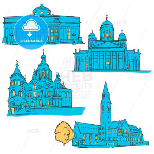 Helsinki Finland Colored Landmarks - Hebstreits