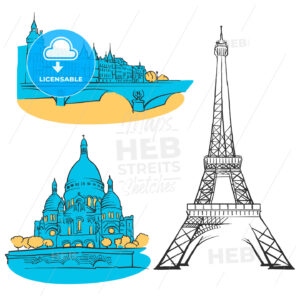 Paris France Colored Landmarks - Hebstreits