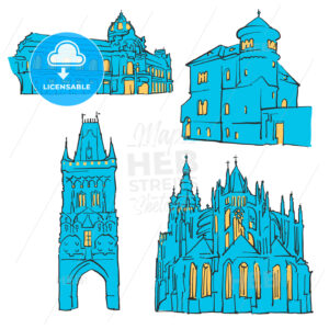 Prague Czech Republic Colored Landmarks - Hebstreits