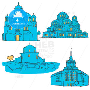 Sofia Bulgaria Colored Landmarks - Hebstreits
