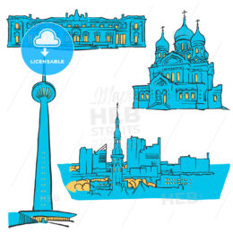 Tallinn Estonia Colored Landmarks