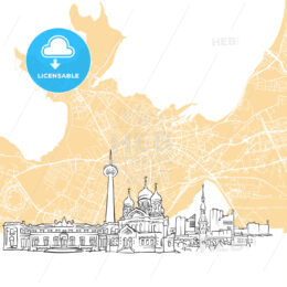 Tallinn Estonia Skyline Map