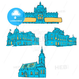 Zagreb Croatia Colored Landmarks - Hebstreits
