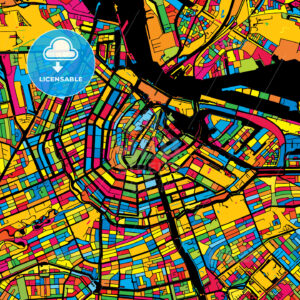 Amsterdam Netherlands Colorful Map - HEBSTREIT's Sketches