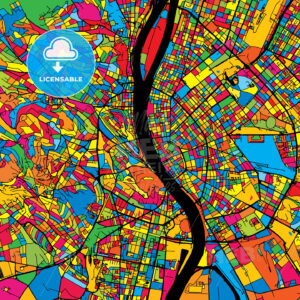 Budapest Hungary Colorful Map - HEBSTREIT's Sketches