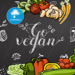 Go vegan. Chalk Title Poster - Hebstreits