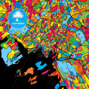Oslo Norway Colorful Map - HEBSTREIT's Sketches