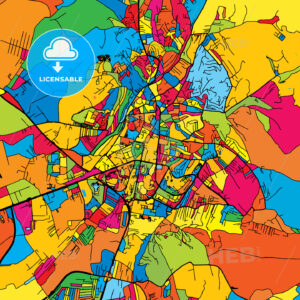 Pristina Kosovo Colorful Map - HEBSTREIT's Sketches