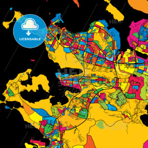 Reykjavik Iceland Colorful Map - HEBSTREIT's Sketches