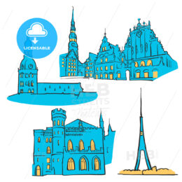 Riga Latvia Colored Landmarks
