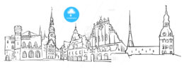 Riga Latvia Panorama Sketch